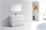 "Bliss 48"" White Floor Mount Modern Bathroom Vanity"