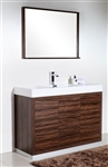 "Bliss 48"" Walnut Floor Mount Modern Bathroom Vanity"
