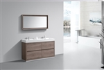 "Bliss 60"" Butternut Double Sink Modern Bathroom Vanity"