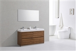 "Bliss 60"" Floor Moun Double Sink Chestnut Modern Bathroom Vanity"