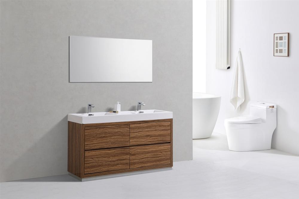 Bliss 60 Floor Moun Double Sink Chestnut Modern Bathroom Vanity