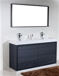 "Bliss 60"" Floor Mount Gray Oak Bathroom Vanity"