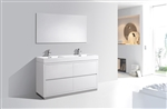 "Bliss 60"" Floor Mount White Bathroom Vanity"