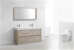 "Bliss 60"" Nature Wood Floor Mount Bathroom Vanity"