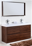 "Bliss 60"" Floor Moun Double Sink Walnut Modern Bathroom Vanity"