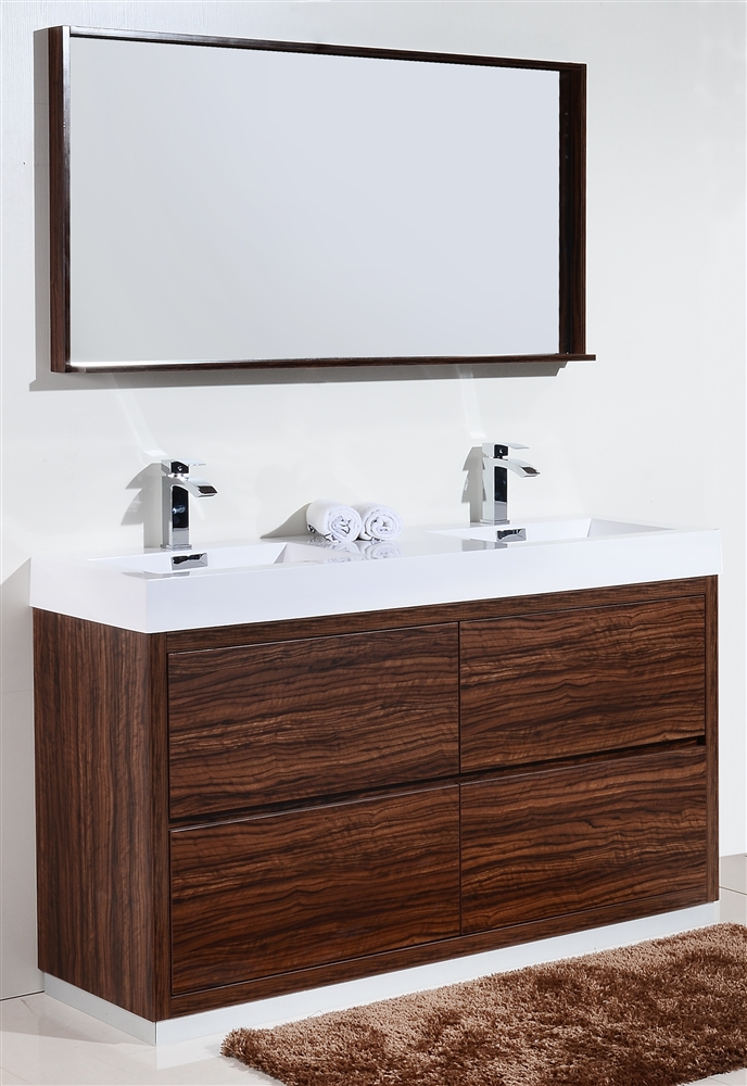 Bliss 60 Quot Floor Moun Double Sink Walnut Modern Bathroom Vanity