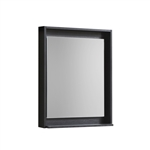 "24"" Wide Mirror w/ Shelf - Black"