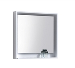 "30"" Wide Mirror w/ Shelf - High Gloss White Acrylic Veneer"