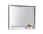 "Kube 36"" Wide Mirror w/ Shelf - Gloss White"