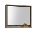 "Kube 36"" Wide Mirror w/ Shelf - Nature Wood"