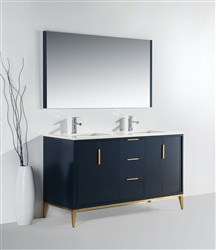 Divani  60''  Gloss BLUE Double Sink Vanity