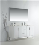 Divani  60''  Gloss White Double Sink Vanity
