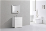 "Milano 30"" Gloss White Floor Mount Modern Bathroom Vanity"