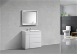 "Milano 36"" Gloss White Floor Mount Modern Bathroom Vanity"