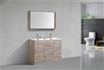 "Milano 48"" Nature Wood Floor Mount Modern Bathroom Vanity"