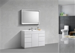 "Milano 48"" Gloss White Floor Mount Modern Bathroom Vanity"