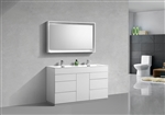 "Milano 60"" Gloss White Floor Mount Modern Bathroom Vanity"