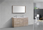 "Milano 60"" Nature Wood Floor Mount Modern Bathroom Vanity"