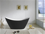 "Kube Luna 68"" Black and White Free Standing Bathtub"