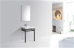 "Haus 24"" Stainless Steel Console w/ White Acrylic Sink - Black"