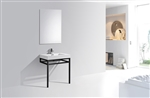 "Haus 30"" Stainless Steel Console w/ White Acrylic Sink - Black"
