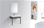 "Haus 36"" Stainless Steel Console w/ White Acrylic Sink - Black"