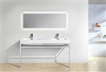 "Haus 60"" Double Sink Stainless Steel Console w/ White Acrylic Sink - Chrome"
