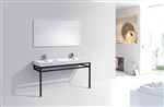 "Haus 60"" Double Sink Stainless Steel Console w/ White Acrylic Sink - Matte Black"