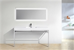 "Haus 60"" Single Sink Stainless Steel Console w/ White Acrylic Sink - Chrome"
