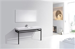 "Haus 60"" Single Sink Stainless Steel Console w/ White Acrylic Sink - Matte Black"