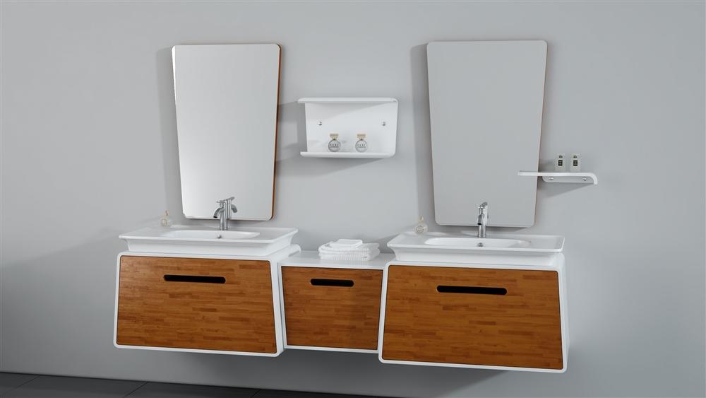 Kube Lego 82 25 Quot Modern Double Sink Wall Mount Bathroom