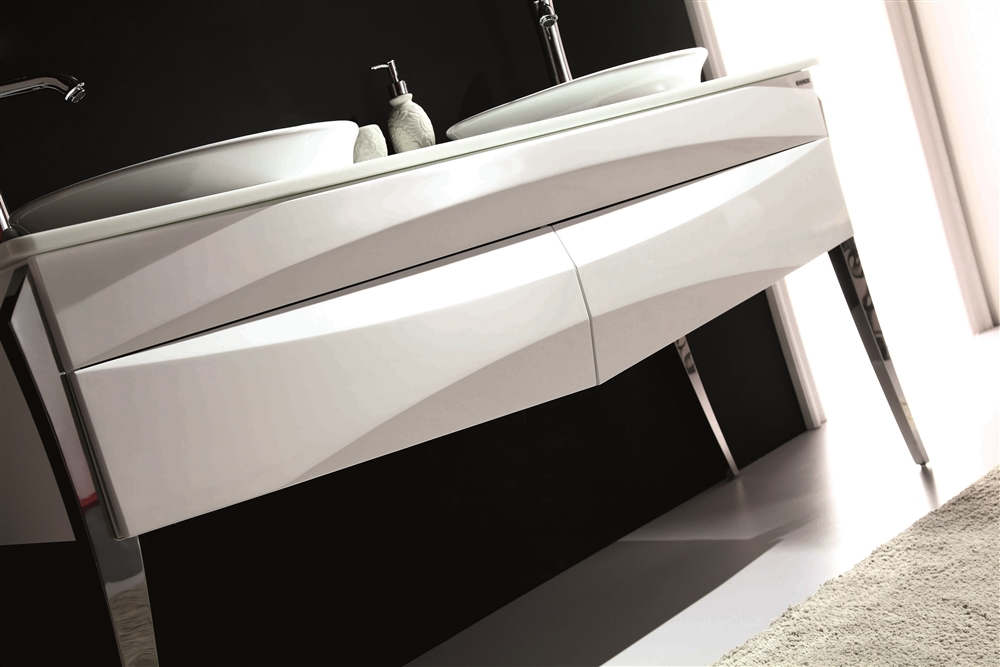 48 Inch Bath Vanity, Kube Riso 64 Modern Double Sink Bathroom Vanity White