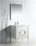 Vetro 30'' Gloss White Vanity W/ Quartz Counter top