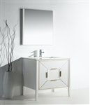 Vetro 36'' Gloss White Vanity W/ Quartz Counter Top