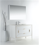 Vetro 48'' Gloss White Vanity W/ Quartz Counter Top
