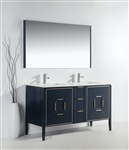 Vetro 60'' Gloss Blue Vanity W/ Quartz Counter Top