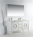 Vetro 60'' Gloss White Vanity W/ Quartz Counter Top