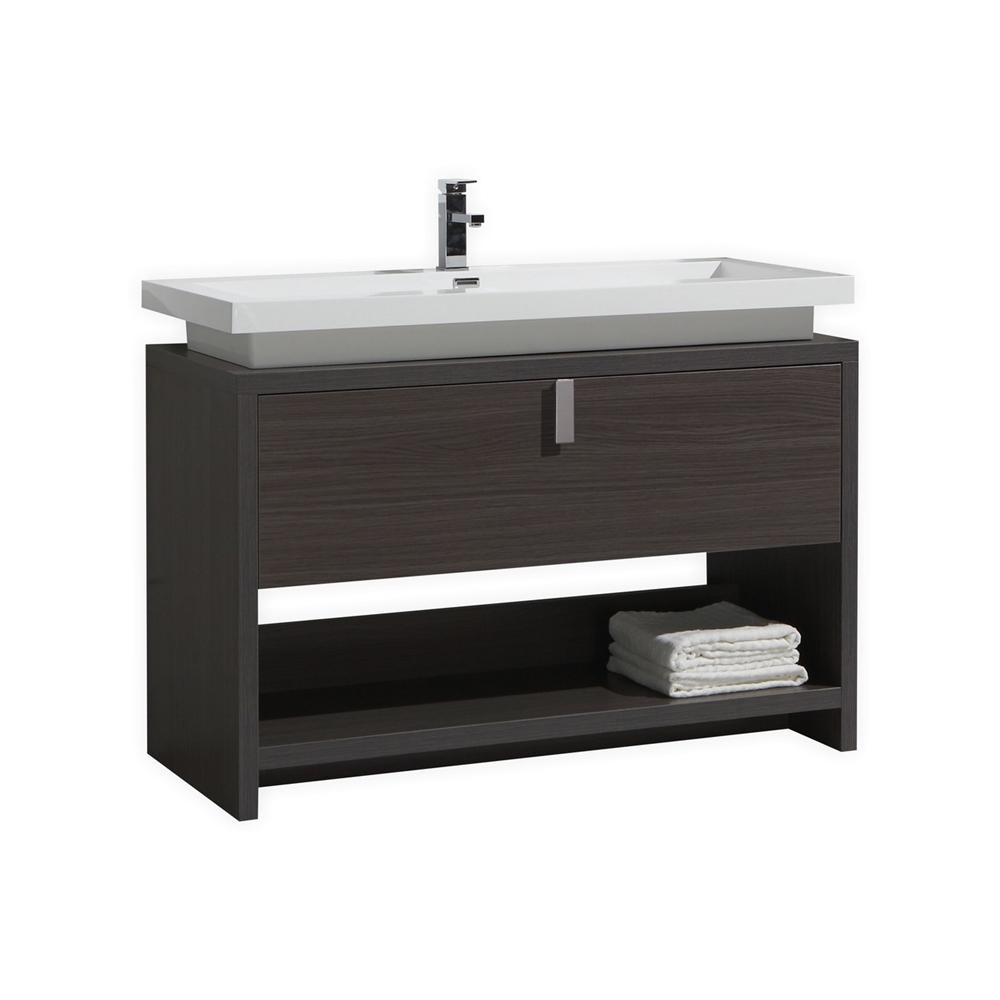 Levi 48 Quot Dark Gray Oak Modern Bathroom Vanity W Cubby Hole