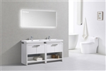 "Levi 63"" Gloss White Double Sink Modern Bathroom Vanity w/ Cubby Hole"