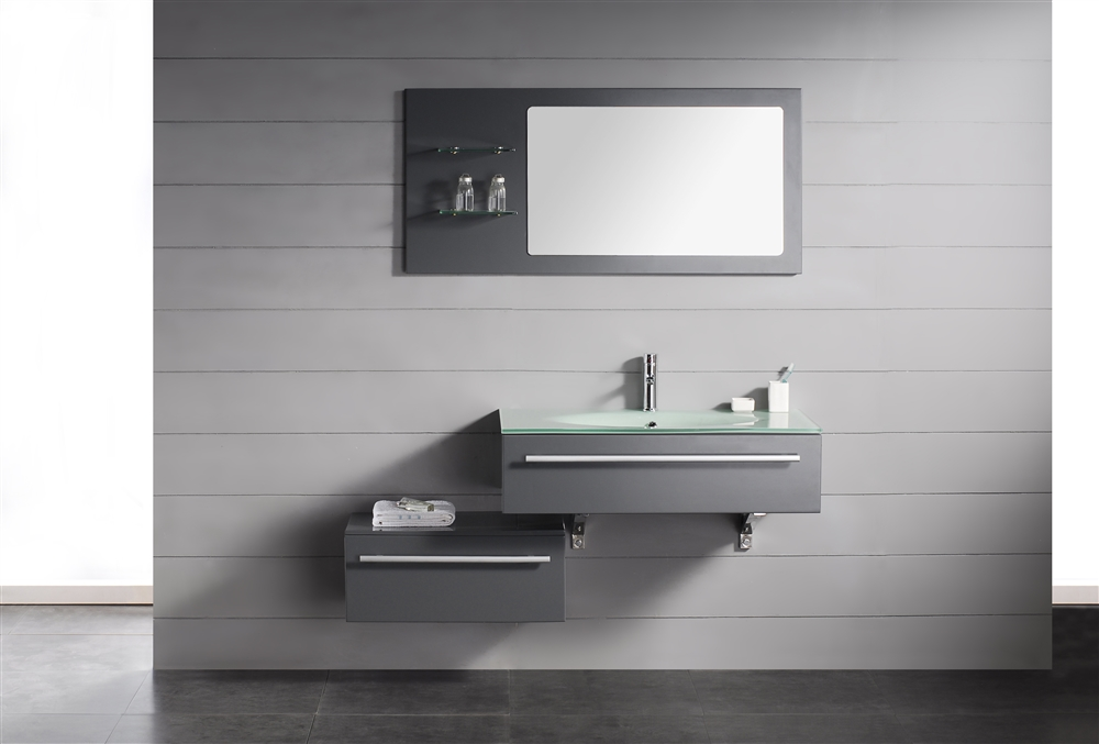 "Contemporary Bathroom Vanities Toronto grigio 48"" modern wall mount bathroom vanity set"