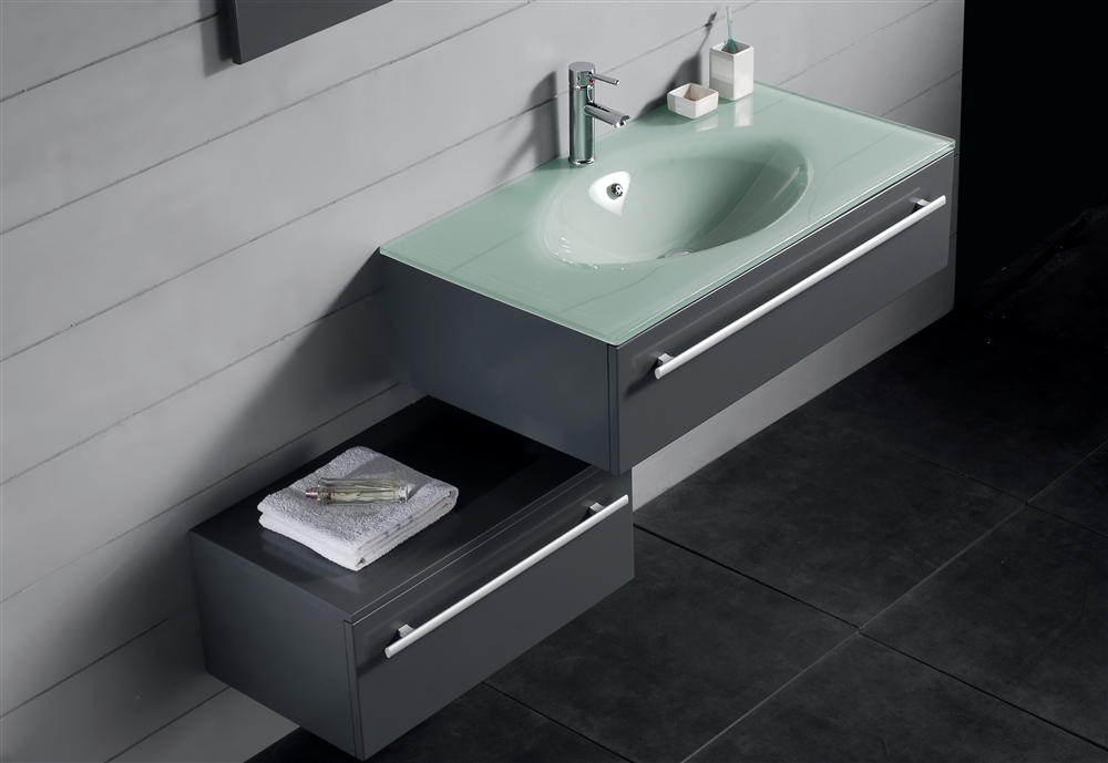 Kube Grigio 48 Modern Wall Mount Bathroom Vanity Set