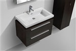 "Kube 32"" Black Wall Mount Modern Bathroom Vanity"