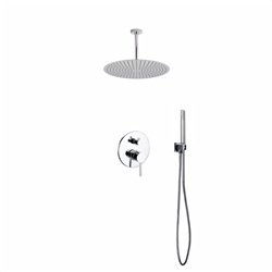 "Aqua Rondo Shower Set w/ Ceiling Mount 20"" Rain Shower and Handheld"