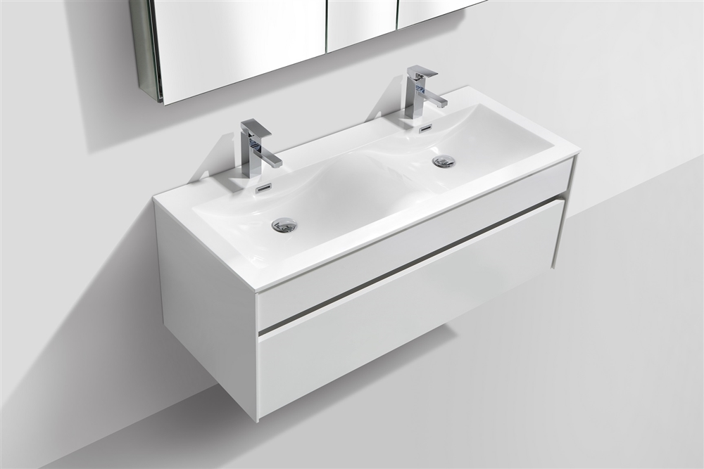 Fitto 48 Double Sink High Gloss White Wall Mount Modern Bathroom Vanity