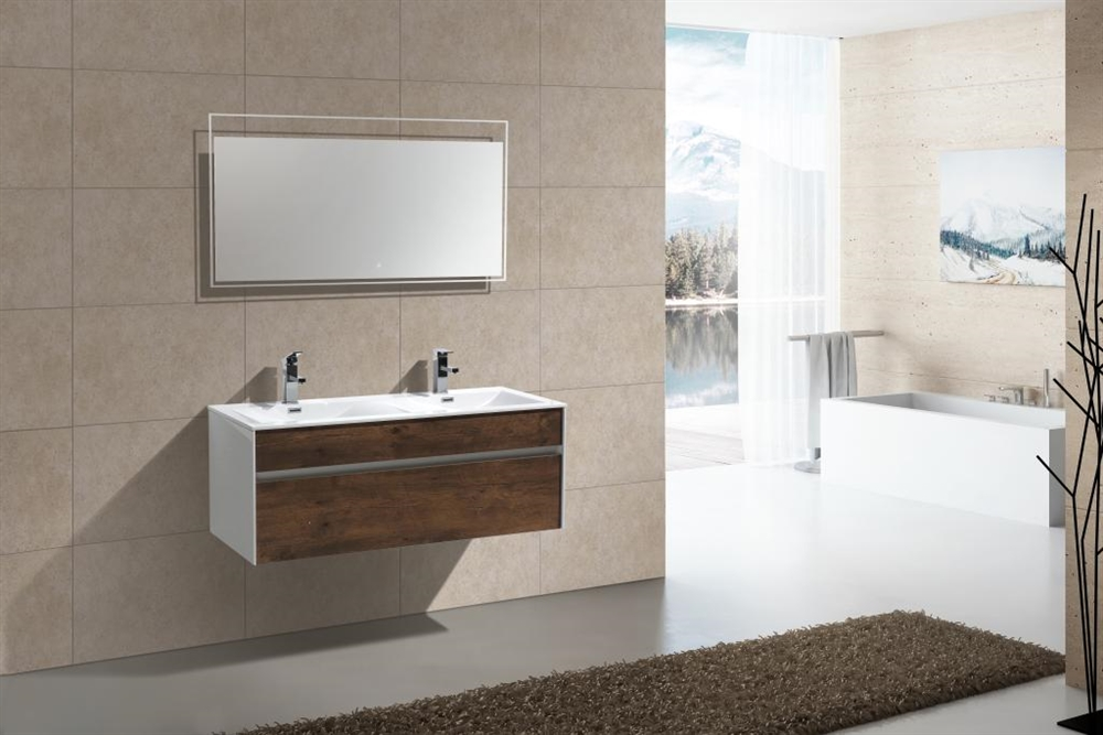 Fitto 48 Double Sink Rosewood Wall Mount Modern Bathroom Vanity