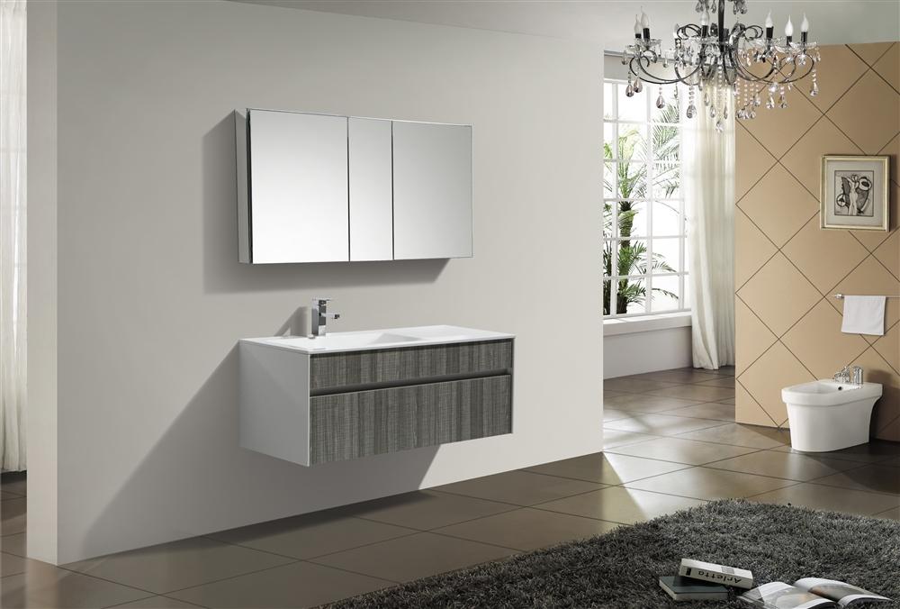 Fitto 48 Single Sink Ash Gray Wall Mount Modern Bathroom Vanity