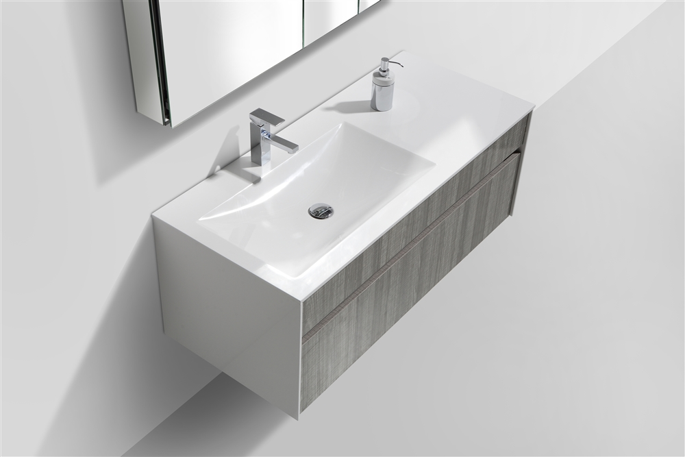 Fitto 48 Quot Single Sink Ash Gray Wall Mount Modern Bathroom
