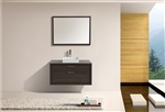 "Tucci 42"" Gray Oak  Wall Mount Modern Bathroom Vanity w/ Vessel Sink and Matching Framed Mirror"