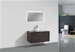 "Tucci 42"" Dark Gray Oak Wood Wall Mount Modern Bathroom Vanity w/ Vessel Sink"