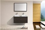 "Tucci 48"" Gray Oak Double Sink Wall Mount Modern Bathroom Vanity w/ Vessel Sink"